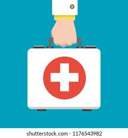 Doctor first aid kit. Hand hold medical bag vector illustration