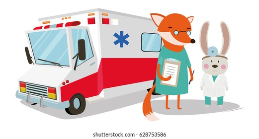 Doctor doctor, fox nurse, medical, machine, ambulatory clinic vector