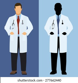 Doctor in Full color and silhouette
