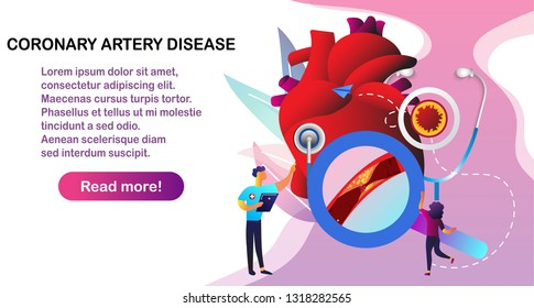 Doctor give treatment for coronary artery disease and atherosclerosis medical: healthy and damaged heart, blood vessel section with fatty deposit accumulation diagnostics. Vector illustration
