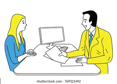 Doctor giving health care consulting to young female patient who feel negative and unwell. Vector illustration character, thin line art, linear, doodle, hand drawn sketch.