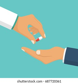 Doctor giving pills patient. Vector illustration flat style design. Holding capsule in hands. Healthcare concept. Take painkillers drugs. Medications in palm. Isolated on background. Medicine
