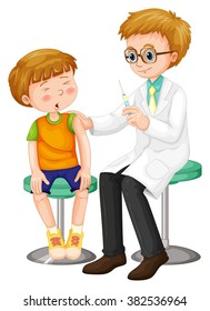 Doctor giving shot to the boy illustration