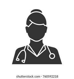 Doctor glyph icon. Medical worker. Practitioner. Silhouette symbol. Negative space. Vector isolated illustration