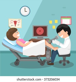 Doctor, gynecologist performing physical examination illustration, vector