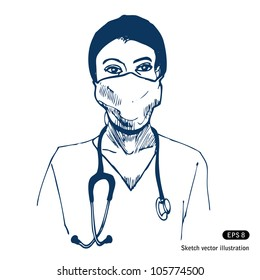 Doctor. Hand drawn sketch illustration isolated on white background
