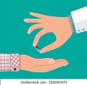 Doctor hand gives capsule to patient. Taking medication concept. Medical drug, vitamin, antibiotic. Healthcare and pharmacy. Vector illustration in flat style