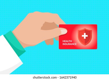 Doctor hand holding medical health insurance red card. Healthcare service concept isolated vector illustration