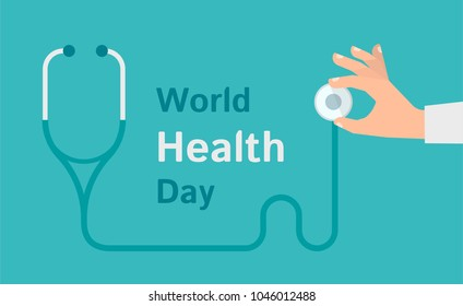 A Doctor hand holding a stethoscope. Banner with text. World Health day concept. Vector flat illustration
