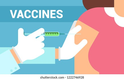 Doctor hand with syringe making vaccination of patient. Ampoule and syringe with medicament. Vaccination concept. Healthcare, hospital and medical diagnostics. Vector illustration in flat style