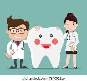 Doctor with Happy healthy teeth - Vector illustration