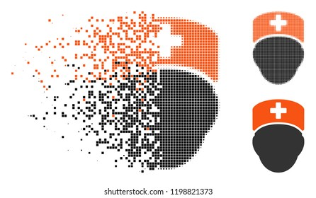 Doctor head icon in disappearing, pixelated halftone and undamaged entire versions. Particles are composed into vector disappearing doctor head form. Disappearing effect involves square pixels.