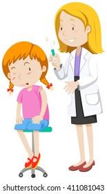 Doctor healing little girl illustration