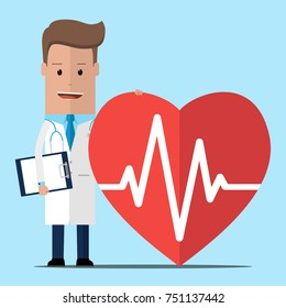 Doctor with a heart. Medical worker. Health care.Doctor and heart pulse . Vector illustration