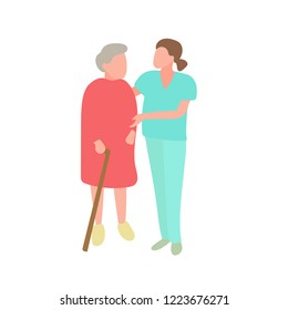 Doctor helping a grandmother with a cane. Vector illustration