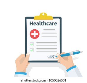 Doctor hold clipboard Healthcare and takes notes on it. Medical report. Checklist. Flat design, vector illustration on background. Best quality