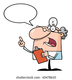 Doctor Holding A Clipboard With Speech Bubble