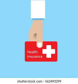 Doctor holding health insurance card. Vector graphic design.