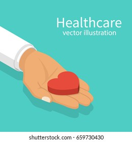 Doctor holding a heart in hand. Red heartbeat. Healthcare concept. Vector illustration isometric design. Isolated on background. Give life. Protection of health.