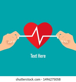 Doctor holding heart shape with heartbeat, vector illustration. Concept healthcare. Medical background.