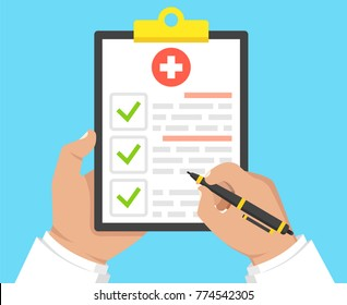 Doctor holding medical clipboard and takes notes on it. Medical report. Vector illustration.