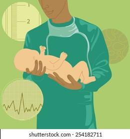 Doctor holding newborn baby