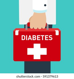 Doctor holding a red briefcase. First aid for diabetes