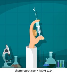 Doctor holding a syringe with an injection. Laboratory background. Prevention of viral diseases. Medical vaccination. Stock vector illustration.