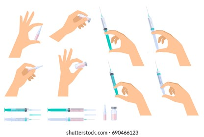 Doctor holds syringes, injectors in his hand to inject vaccine. Nurse holds glass ampoules and vials, phials with drug liquid. Medicine, science and health care flat vector concept illustration set.