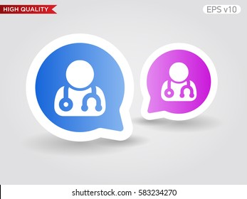 Doctor icon. Button with doctor icon. Modern UI vector.