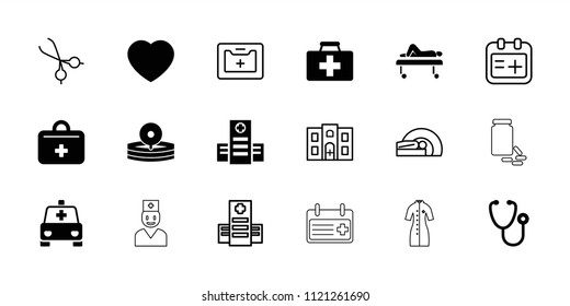 Doctor icon. collection of 18 doctor filled and outline icons such as first aid kit, stethoscope, hospital, medical reflector. editable doctor icons for web and mobile.