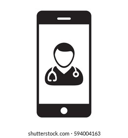 Doctor Icon - A Medical Physician With Stethoscope and Smart-phone App Vector illustration