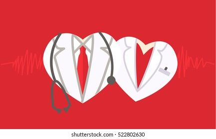 Doctor icon on red medical background. Cardiology heart symbol. Healthcare And Medical concept - heart cardiologists Stethoscope. Valentine's Day.  Valentine help
