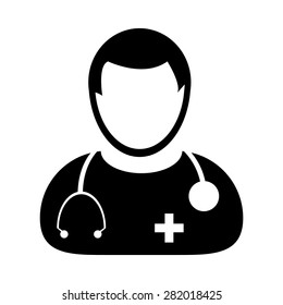 Doctor Icon - Physician With Stethoscope Medical & Health Care Vector illustration