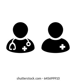 Doctor Icon Vector with Patient or Medical Assistant Avatar in Glyph Pictogram Symbol illustration