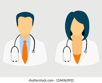 Doctor icons isolated on gray background