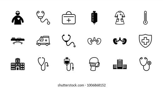 Doctor icons. set of 18 editable filled and outline doctor icons: kidney, stethoscope, hospital building, hospital stretch, doctor with medical reflector, medical sign