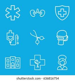 Doctor icons set. set of 9 doctor outline icons such as drop counter, kidney, medical sign, medical mask, medical scissors, nurse, hospital building