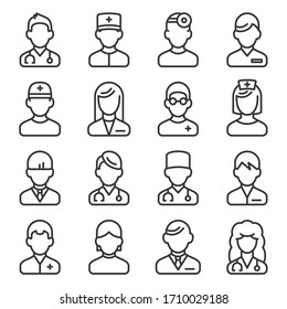 Doctor Icons Set on White Background. Line Style Vector