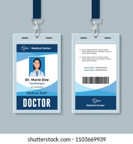 Doctor ID badge. Medical identity card design template