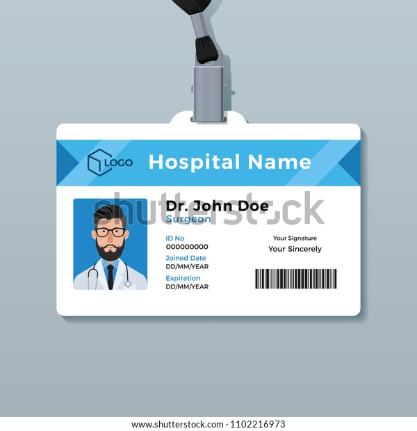 Doctor Id Card Template Medical Identity Stock Vector