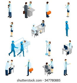 Doctor isometric set with 3d clinic people and patients isolated vector illustration