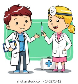 Doctor Kids Kids playing to be a doctors. Vector EPS10 file.