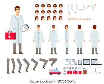 Doctor in lab coat creation kit. Create your own pose, action, animation. Various emotions, gestures, design elements. Flat design vector illustration