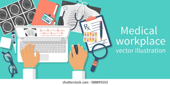 Doctor with laptop at desk studying documents of diagnostic research. Workplace doctor at table. Top view of the workplace, medical equipment. Vector illustration flat design. Isolated on background.