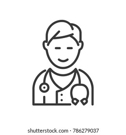 Doctor - line design single isolated icon on white background. High quality black pictogram, image of a smiling male physician with a phonendoscope. Healthcare, medical help concept