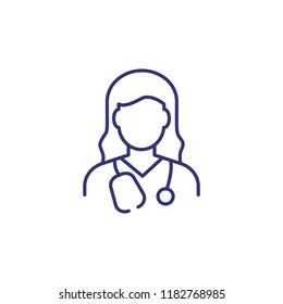 Doctor line icon. Woman with stethoscope. Occupation concept. Can be used for topics like medicine, clinic, health care