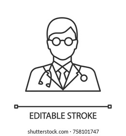 Doctor linear icon. Medical worker. Practitioner. Scientist. Thin line illustration. Contour symbol. Vector isolated outline drawing. Editable stroke