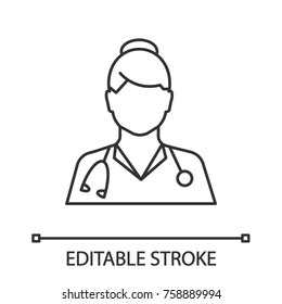 Doctor linear icon. Medical worker. Practitioner. Thin line illustration. Contour symbol. Vector isolated outline drawing. Editable stroke