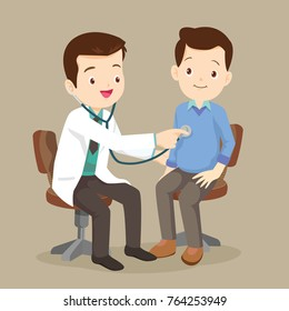 Doctor listening to chest of patient with stethoscope. Adult patient visiting doctor. Doctor examining chest of a patient.